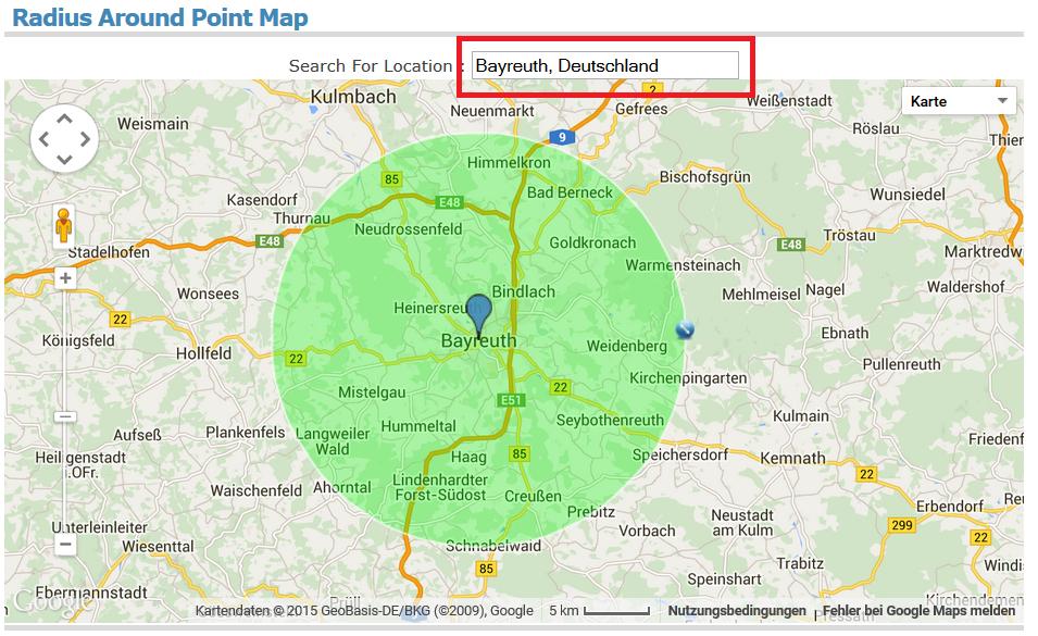 Karte Umkreis